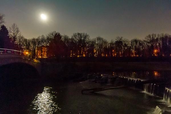 Night shot of waterfall and bridge