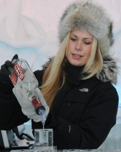 Bartender pouring drinks at Ice Hotel
